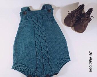 Barboteuse bébé rétro vintage (3 mois) tricotée main avec un fil hyper doux  coton mérinos bleu canard