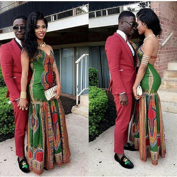 Engagement Photo Outfits: Ankara Couples OutfitDashiki Couples Dress For PromAfrican