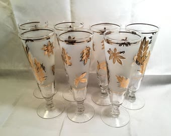 7 Frosted Pilsner Glasses with Gold Leaves