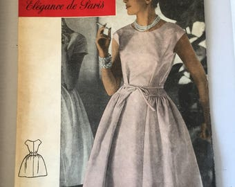 """Fabulous 50's french vintage sewing pattern :  Woman party dress size 16 taille 44 """"Patrons Marie Claire 525"""""""