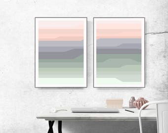 Abstract printable , Large Wall Art , Modern Art, lines abstract, geometric abstract, light green and peach, voilet and mint, set of 2
