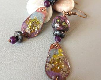 Bohemian earrings, dangle earrings, bead glass spun torch and copper enamel, purple, black, Plum, pink...