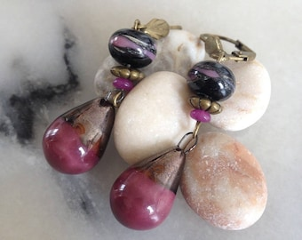 Bohemian chic earrings, handmade pottery plum and Eggplant and black Lampwork bead jade, bronze metal.