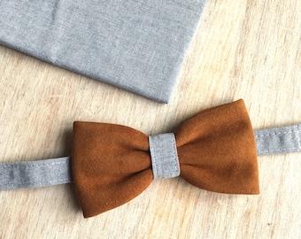Bow tie + Pocket - Grey Chambray