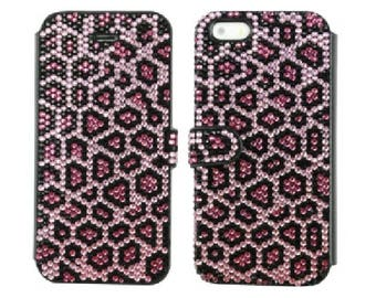 Leopard Pink Fuchsia Black Jet Bling Swarovski & Czech Crystals Handmade Cards Wallet Case Rhinestones Jewel Gem Galaxy S8 Plus Flip Cover