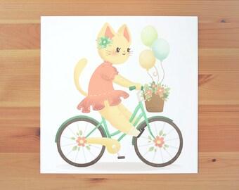 Kitty Bicycle Print