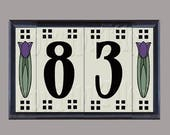 Craftsman Tulip Ceramic House Number Address Tiles Framed Set