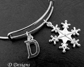 Snowflake Bangle, Snowflake Bracelet, Personalised Bangle, Snow Bangle, Snowflake Jewellery, Skiing Gifts, Winter Jewellery, Winter Bangle