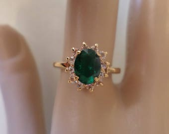 Vintage Gold Tone, Made in Taiwan, Green Glass Stone and Rhinestones, Ring Size 6.75.