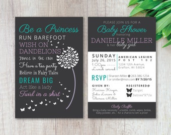 Be a Princess Baby Rules Dandelion Butterfly Baby Shower Invitation Invite Purple Teal Gray   *Digital Download*