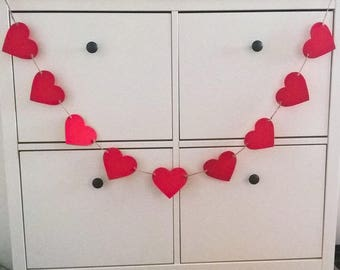 Red Heart Valentines Day bunting by Joyce Molly Designs