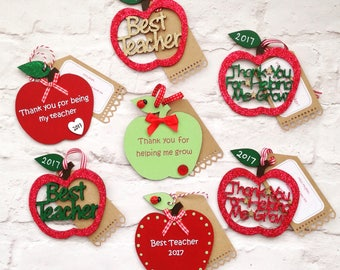 Personalised Teacher Gift, Teacher Apples with personalised tag