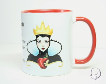 The evil Queen from snow white mug - ceramic white and red for tea and coffee mug