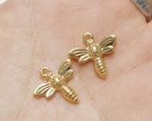 set of 30, bee charms, bright gold, mixed metal charms, 15mm x 15mm, bulk charms, small bee charms, insect charms, queen bee charms,