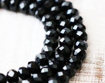5 strands, bulk beads, crystal beads, faceted beads, black beads, rondelle beads, glass beads, faceted rondelle, glossy beads, 3mm x 4mm