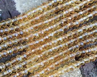 5 strands,  champagne beads, bulk beads, beads wholesale,  crystal rondelle,crystal beads, faceted rondelle, cheap beads, 4mm x 6mm