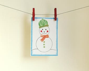 Card Snowman - A6 Postcard - Blank Card - Just Because Card - Card Recycled Paper.