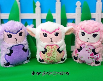 Lamb toys. Embroidered  toys.Personalized lamb.Stuffed lamb toy.