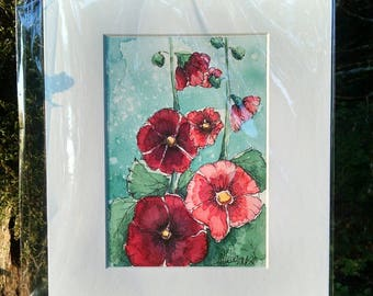 Matted Original Watercolor & Ink Painting of Red and Pink Hollyhocks on Blue