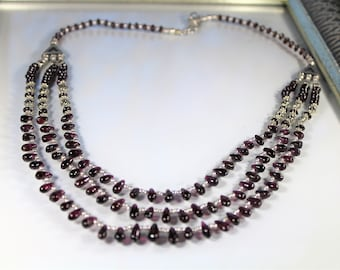 Garnet necklace, multi strand necklace, beaded necklace, statement necklace, gift for her
