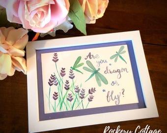 Watercolour art, original art, watercolour painting, dragonfly painting, watercolour dragonfly, floral watercolour, handpainted calligraphy,