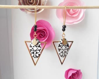 Gold sequin black and white earrings