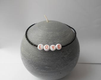 anklet love letter black seed beads