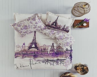 Paris Eiffel Tower Twin Full Double Queen Bedding Duvet Cover Quilt Cover