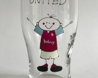 West Ham foitball pint drinking glass~mug~tumbler~card~ Personalised gift~Dad~husband~uncle~brother~handmade~Personalised football gift~