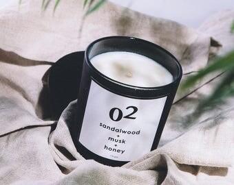 02 Sandalwood + Musk + Honey Scented Soy Candle