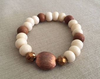 Neutral Now - Aromatherapy Essential Oil Diffuser Bracelet, Copper, Crystal and Wood