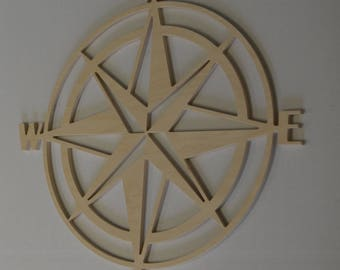 Wood Compass Cut Out, Wooden Compass, Large Compass, Wall Decor, Wall Art, Wall Hanging