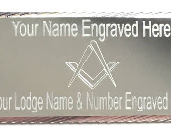 Silver Diamond Cut Masonic Order No G Case Name/Lodge Plate (T108)