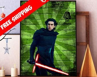 Star Wars Poster, Kylo Ren Print, Star Wars Art, Kylo Ren Wall Art Decor, Star Wars Graffiti Wall Art, Kids Room Sci Fi Art Poster