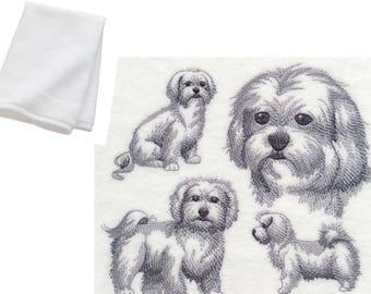 Maltese Dog Embroidered Cotton Bathroom Hand Towel