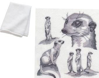Meerkat Embroidered Cotton Bathroom Hand Towel Gift present