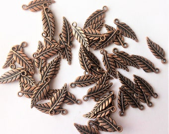 6 pcs Cute leaves copper-tone leaf charms findings , jewelry , beading supplies, leaf charm 19.4x6.5mm,  double-sided leaf charm