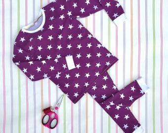 Purple kids pyjamas, unisex kids pyjamas, jersey pyjamas, jersey sleepwear, childrens pjs, kids pajamas, Christmas pyjamas, gifts for kids