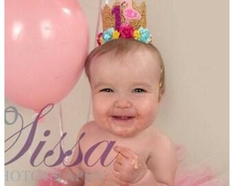 Flamingo Crown, Birthday Crown, Princess Flamingo Crown, Tropical, Beach, Hawaiian