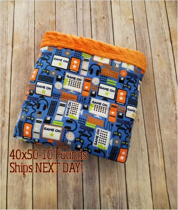 Weighted Blanket, 10 Pound, Minky, Video Game, 40x50, READY TO SHIP, Twin Size, Adult Weighted Blanket, Next Business Day To Ship