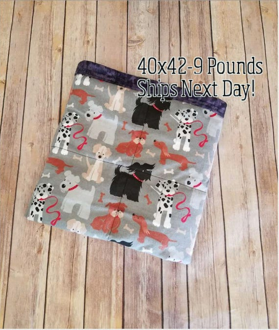 Puppy Dog, 9 Pound, WEIGHTED BLANKET, Ready To Ship, 9 pounds, 40x42 for Autism, Sensory, ADHD