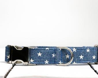 Jean Stars Dog Collar