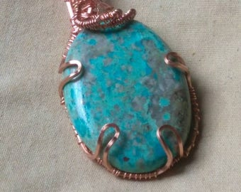 Crysocolla Gemstone Pendant wire wrapped in Copper