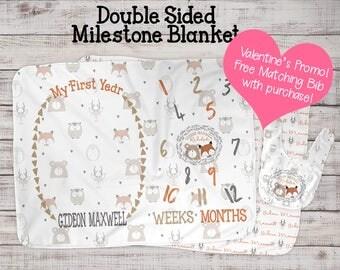 Baby Milestone Blanket - Monthly Milestone Blanket - Baby Growth Gift - Woodland Animals Nursery - Swaddle Blanket - Name Blanket