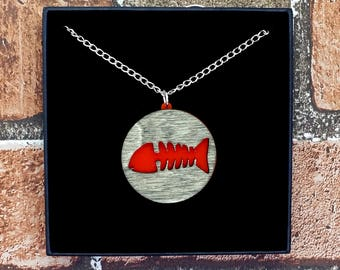 Red Dead Fish Skeleton Wood & Acrylic Necklace