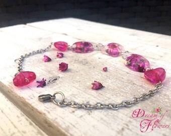 Bracelet Cyclamen-Flowers-resin/cyclamen bracelet-Real flower-resin