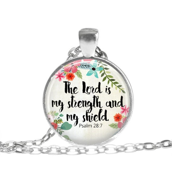 Bible verse necklace psalm 28 7 scripture necklace christian like this item negle Choice Image