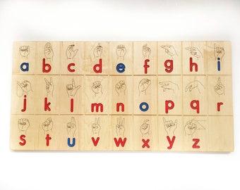 Wooden Sign language board - ASL board in Montessori colors