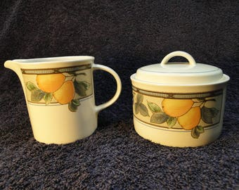 Mikasa Garden Harvest Creamer Sugar Set CAC29 EXCELLENT!