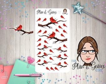 Cardinals Planner Stickers, Red Cardinal Planner Stickers, Happy Planner Stickers, FUN-165